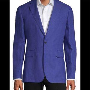 Burberry Men's Blue Slim Fit Linen Blazer Size 52